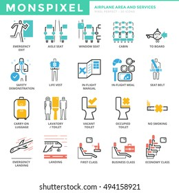 Flat thin line Icons set of Airplane Area and Airport Services. Pixel Perfect Icons. Simple mono linear pictogram pack stroke vector logo concept for web graphics