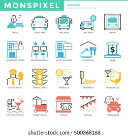 Flat thin line Icons set of City life. Pixel Perfect Icons. Simple mono linear pictogram pack stroke vector logo concept for web graphics.