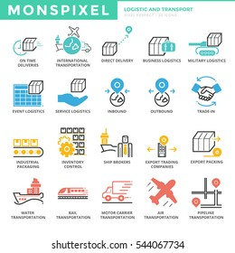 Flat thin line Icons set of Logistic and Transport. Pixel Perfect Icons. Simple mono linear pictogram pack stroke vector logo concept for web graphics