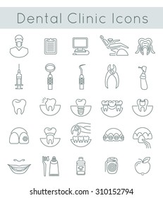Flat thin line vector conceptual icons of dental clinic services, stomatology, dentistry, orthodontics, oral health care and hygiene, tooth restoration and instruments. Linear design elements