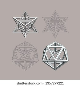 Flat and three-dimensional monochrome images of an icosahedron and a stellar octahedron on a brown background.