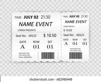 Flat ticket for Cinema, travel, event. Concept with flat ticket icons design, vector illustration