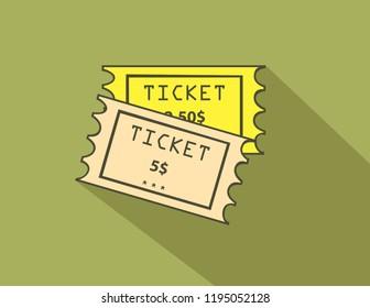 Flat ticket design.Ticket worth 5 dollar design.
