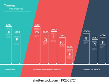 Flat Timeline Infographic. Vector design template.
