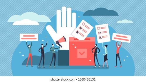 Flat tiny democracy vector illustration. Flat tiny ideology persons concept. Freedom of speech, justice voting and opinion. Symbolic referendum and poll choice event. Citizen crowd political election