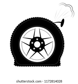 A flat tire or a punctured tire. Logo or emblem for tire fitting, shop or website