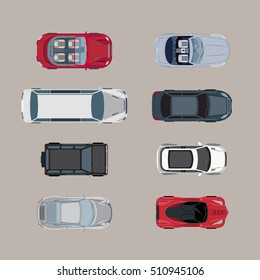 Flat Top view passenger auto vector illustration set. City transport collection.