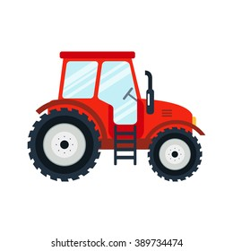 Flat tractor on white background. Red tractor icon - vector illustration. Agricultural tractor - transport for farm in flat style. Farm tractor icon. Tractor icon vector illustration.
