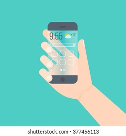 flat transparent smartphone vector concept