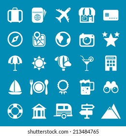 Flat travel icons vector collection with of web Isolated on blue background.