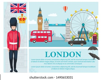 Flat Travel To London concept with british royal guard crown UK flag raven umbrella bus car phone booth famous landmarks vector illustration
