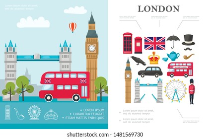 Flat Travel To London concept with bus Big Ben Tower Bridge british royal guard and Great Britain national elements vector illustration