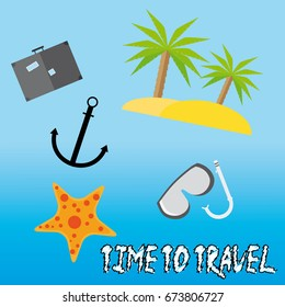 Flat travel poster with palm tree, star, suitcase and sign time to travel