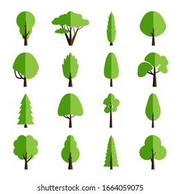 Flat tree collection. Set of isolated icons forest trees. Vector illustration