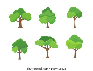 Flat tree icon illustration. Trees forest simple plant silhouette icon. Nature oak organic set design.