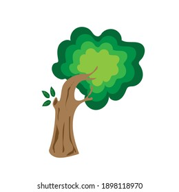 Flat tree icon illustration. Trees forest simple plant silhouette icon. Nature organic design.