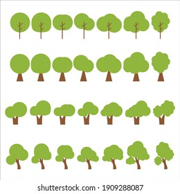 Flat trees | flat design style, icon vector