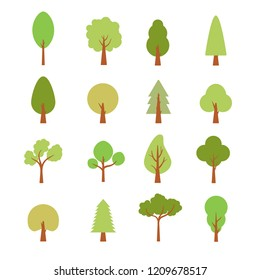 Flat trees set. Flat forest tree nature plant isolated eco foliage.