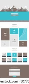 Flat Trendy One Page Website Template, with flat landscape Vector