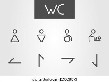Flat trendy signs icon set for wc/lavatory in the mall, shopping center or other public place