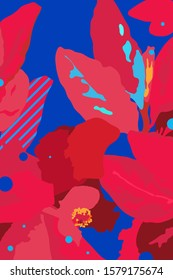 Flat tropical flowers and leaves background design, hight contrast red and blue colour, simple and fun composition
