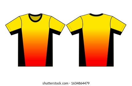 Flat T-Shirt Design Vector With Yellow/Red/Black Colors Sublimation Printed.Front And Back Views.