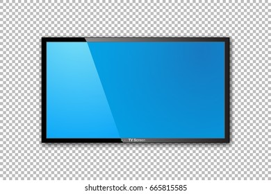 Flat TV screen realistic vector design. Monitor realistic illustration on transparent background