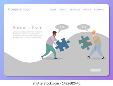 Flat two businessmen different races template with business team flat puzzle on city background. Team work process. Concept business idea. Vector connection concept. Isolated vector illustration.