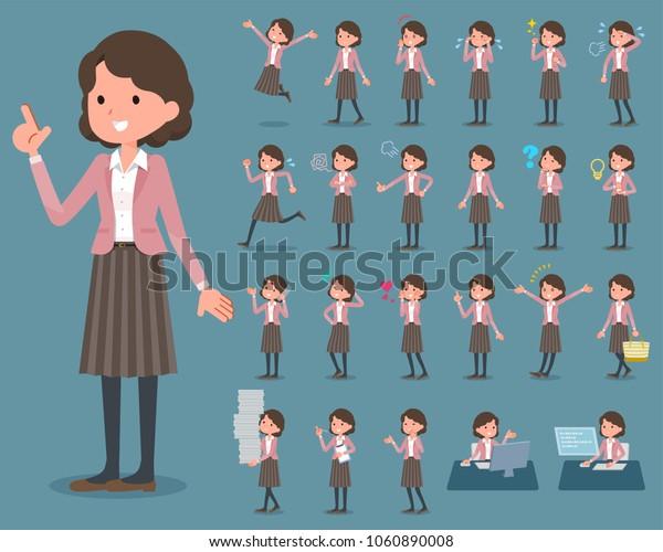 flat type Pink jacket Middle women_1