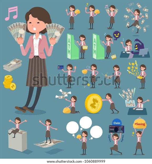 flat type Pink A set of women with concerning money and economy. There are also actions on success and failure. It's vector art so it's easy to edit. Middle women_money
