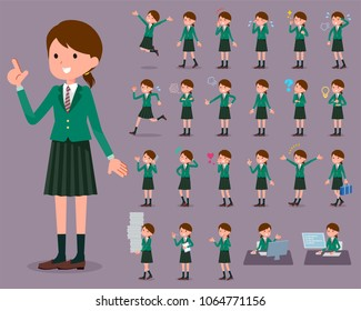 flat type school girl Green Blazer_1