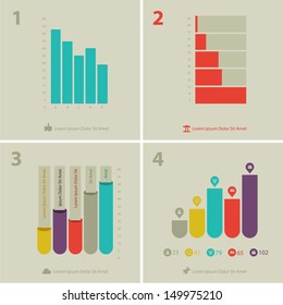 Flat ui design infographic statistic chart template