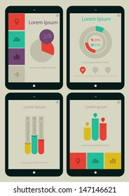 Flat ui design infographic template with steps and statistics