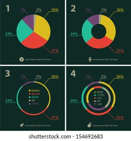 Flat ui design infographic template with diagrams and statistics
