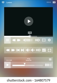 Flat ui design media player application template for tablet pc or smartphone, with modern gradient mesh background, 10 EPS
