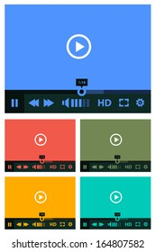 Flat ui design media player application template collection for tablet pc or smartphone