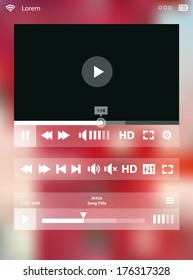 Flat ui design media player application template for tablet pc or smartphone, with modern mesh defocused blurred background, 10 EPS
