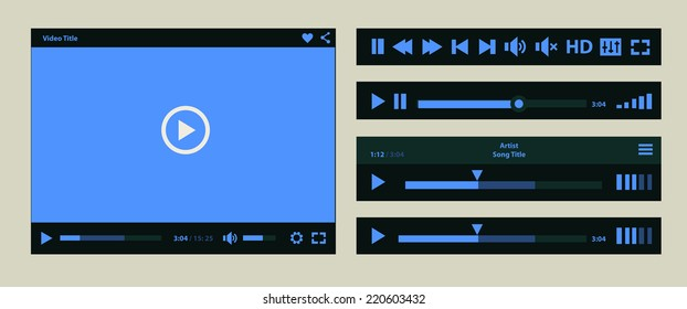 Flat ui design media player application template for tablet pc or smartphone