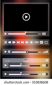 Flat ui design media player application template for tablet pc or smartphone, on blurred background