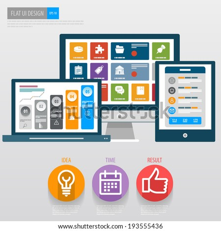 flat ui design responsive web template stock vector royalty free