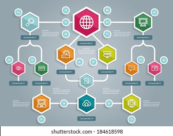 Flat UI Design. Social network mapping. Vector eps 10.