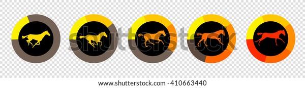 Flat UI element design - progress bars, loading. Animation horse race. Vector illustration