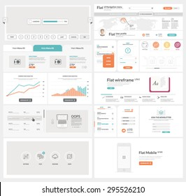 Flat UI kit template for website, mobile and business with icons