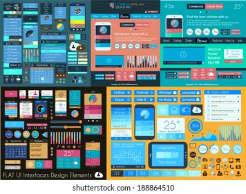 Flat UI Mega Collection: Icons, web forms, Headers, Footers, Smartphones, Computers, tablet, web template, business, infographics and so on.