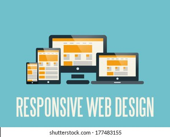Flat UI vector illustration of responsive web design as seen on desktop monitor, laptop, tablet and smartphone, isolated on light blue background.