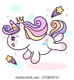 Flat unicorn fairy cartoon Pony Child jump in air with star and cloud: Series Fairytale Kawaii animals (Girly doodles). Perfect for Nursery kids, greeting card, baby shower girl, fabric design, Print.