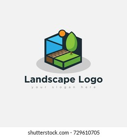 flat unique landscape logo for business company organization in white background