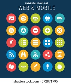 Flat Universal Web Icons Set for Web and Mobile