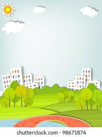 flat urban landscape with trees, lake and bridge. Paper cut image