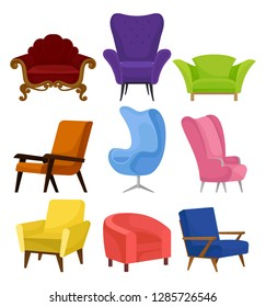 Flat vecrtor set of cozy armchairs. Retro and modern chairs with soft upholstery. Furniture for living room